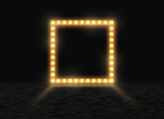 Square frame with glowing shiny light bulbs, vector illustration. Shining party banner on black stage exhibition background. Signboard with lamps border for lottery, casino, poker, roulette.