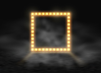 Square frame with glowing shiny light bulbs and smoke, vector illustration. Shining party banner on black stage exhibition fog background. Signboard lamps border for lottery, casino, poker, roulette.