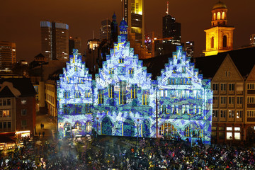 Frankfurt town hall Roemer is illuminated during the Luminale, light and building event in Frankfurt