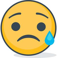 Isolated crying sad emoticon. Isolated emoticon.