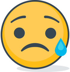 Isolated crying sad emoticon. Isolated emoticon.