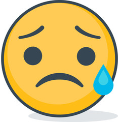 Isolated crying sad emoticon. Isolated emoticon