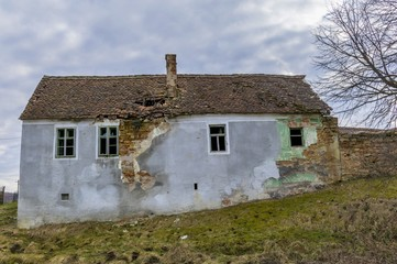 Abandoned house in saxon villages from Transylvania. Ancient semi ruined Saxon village in Transylvania Romania