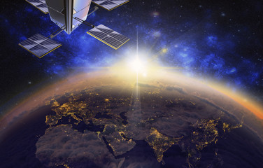 satellite over Europe and Asia, 3d visualization