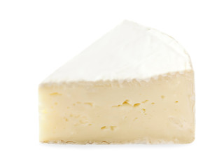 Piece of Brie  cheese isolated on white background close up.