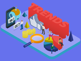 Trends in social networks. Marketing strategy and analytics. Flat 3d isometric banner. Chatbot, video 360 degrees, SMM promotion. People in different poses in isometric style. Vector illustration