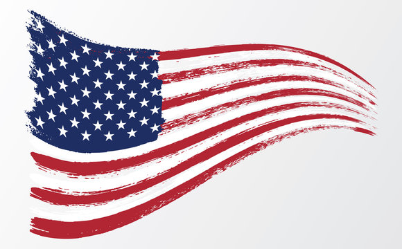 Waving flag United States of America. illustration wavy American Flag for Independence Day brush stroke background