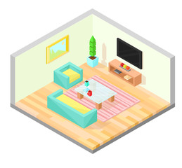 Living room isometric design with table, TV, armchair, sofa, plant, painting, and carpet. Vector illustration.