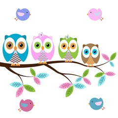 colorful owls on the tree with butterflies on a white background