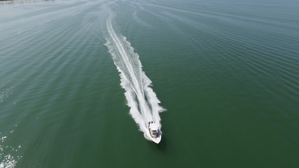 drone aerial of boat