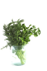 a bunch of green parsley and dill in a glass jar