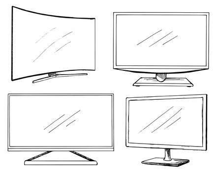 Sketch TV set isolated on a white background. Monitor. Vector illustration.