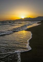 Scenic colorful sunset at the sea coast . Mediterranean sea. Summer sunset.