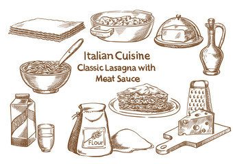 Italian cuisine. Classic lasagna with meat sause ingredients vector sketch.