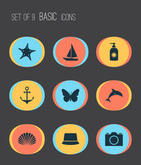 Summer icons set with dolphin, starfish, boat and other monarch  elements. Isolated vector illustration summer icons.