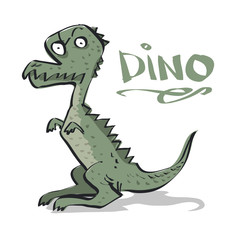 Little Angry Dinosaur.  Comic Character. Vector illustration