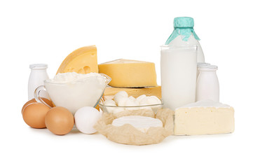 Wall Murals Dairy products Fresh dairy products and eggs on white background