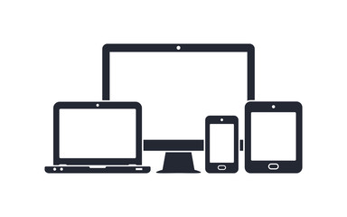 Device icons - desktop computer, laptop, smartphone and tablet