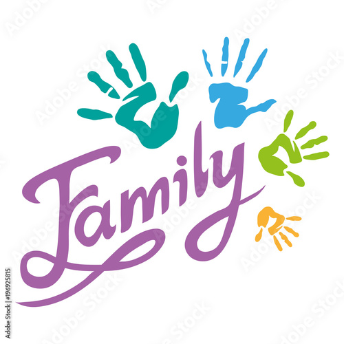 happy family lettering family logo stock image and royalty free