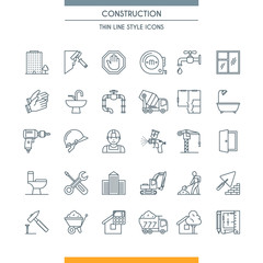 thin line design construction icons