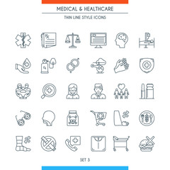Thin line design medical icons