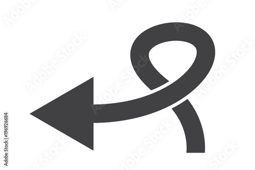Grey Curved Arrow To Left