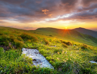 Mountains during sunset. Beautiful natural landscape in the summer time