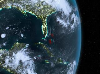 Night over Bahamas on Earth
