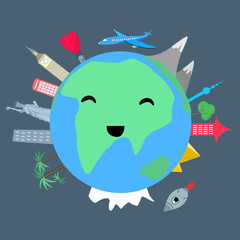 Smiling planet earth with cityes and trees on dark background cartoon style vector illustration