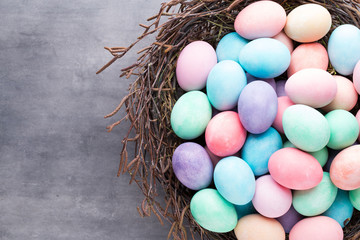 Easter colored eggs on the vintage background.