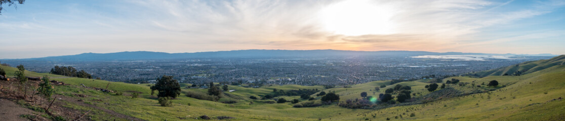 Wide Angle Panorama of Silicon Valley with Downtown San Jose at Sunset