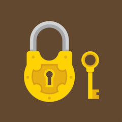 Padlock and key flat illustration.