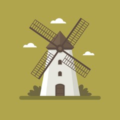 Rural windmill flat illustration.