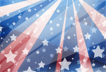 red white and blue background design with stars and stripes in modern geometric abstract layout, faded layered transparent striped shapes in sunburst shape, veteran's day, memorial day, and July 4th