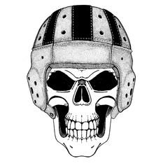 Rugby player. Brutal skull wearing rugby helmet. Play football, rugby until death.