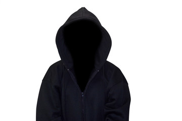 Man in hood / Hooded man in shadow on white background.