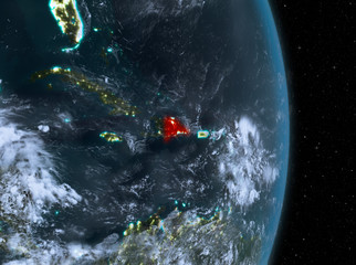 Night over Dominican Republic on Earth