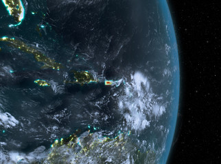 Night over Puerto Rico on Earth