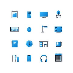 Flat outline vector set of workstation elements. Desktop icons set. Workplace design templates