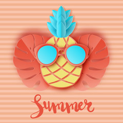 Cute paper pineapple in sunglasses and tropical leaves on striped background. Summer vacation concept. Pastel colors