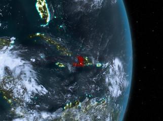 Night over Haiti on Earth