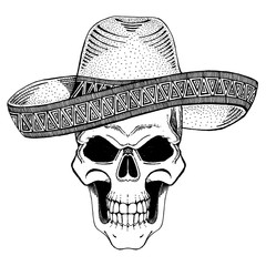 Skull wearing sombrero. Image for tattoo, t-shirt, poster, banner.