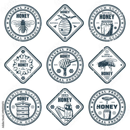 Grunge Rubber Stamp Honey Making Vintage Monochrome Vector
