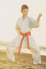 boy exercising tae kwon do