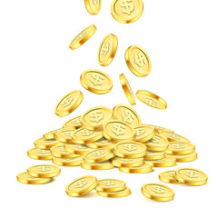 Realistic gold coin stack on white background. Rain of golden coins. Falling money on pile. Bingo jackpot or casino poker or win element. Cash treasure success concept template. Vector 3d illustration