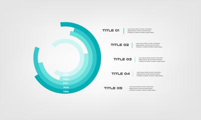 Circular chart color infographics step by step in a series of circle. Element of graph, diagram with 5 options- 20, 40, 60, 80, 100 percent, parts, processes. Vector business template for presentation