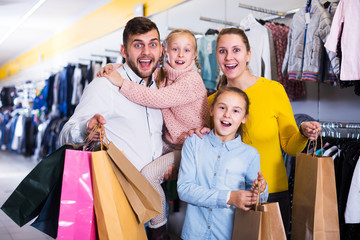 Family after shopping in store