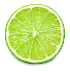 close-up view of single slice of lime isolated on white background
