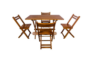 Wooden modern Table with chairs on white background.
