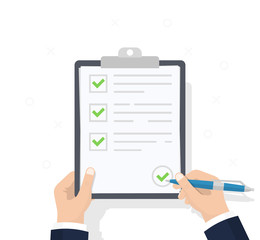 Wall Mural - Businessman hands holding clipboard checklist with pen. Checklist, complete tasks, to-do list, survey, exam concepts. Best quality. Flat illustration of clipboard with checklist icon for web. Vector.